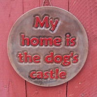 Cast Cement Stone Dog Castle Wall Hanging ooak finish