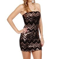 Black/Bronze Sequin Zig Zag Dress