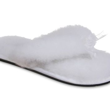 UGG Fluff Flip Flop Slippers 5304 White Outlet UK