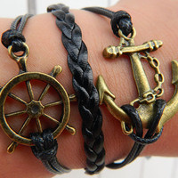 Black wax rope anchor, the ship rudder Adjustable Bracelet