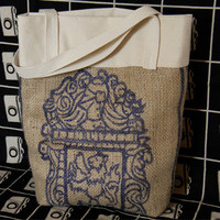The Everyday Tote Panama Blue Print by TheGreenBeanBag on Etsy