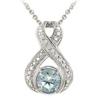 Sterling Silver Diamond Accent Blue Topaz Infinity Necklace