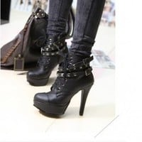 Wholesale Fashion Rivet Decorate High Heel Boots Black
