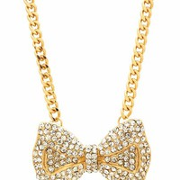 embellished-bow-necklace GOLD - GoJane.com