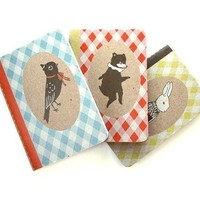 Bear Bunny Bird Pocket Notebook Three Pack from by theblackapple
