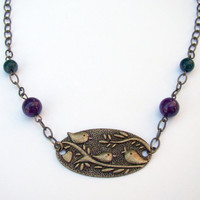 sweet birds  antique brass purple &amp; green by MamasNestDesigns