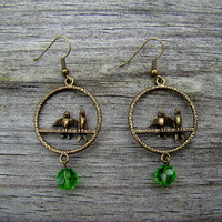 two birdies green  antique brass earrings by MamasNestDesigns