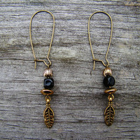 gold leaf  charm &amp; black beaded earrings by MamasNestDesigns