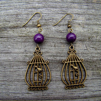 fly away purple  antique brass bird earrings by MamasNestDesigns