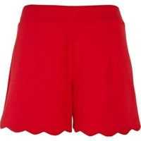 red scallop hem shorts - casual shorts - shorts - women - River Island