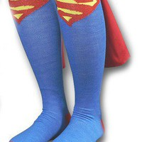Cool Stuff - DC Comics SUPERMAN Logo Licensed Knee High Socks with Cape