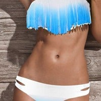 Sexy Women Padded Boho Fringe Strapless Dolly Bikini Gradient Color Swimwear SML