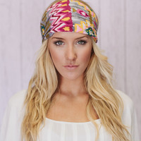 Gray Aztec Wide Turban Headband Watercolor Print Head bands