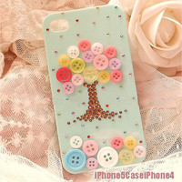 iPhone 5 Case, iPhone 4 case, iPhone 4s case, Cute iPhone 5 case tree, unique iphone 5 case colorful button tree, unique iphone 4 case skin
