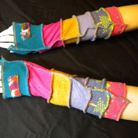 Fingerless Arm Warmers Recycle Sweater Art Hand by VonksArt