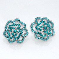 Teal Blue Rhinestones Dazzling Silv.. on Luulla