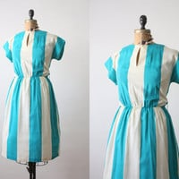 1970s dress - teal stripe day dress