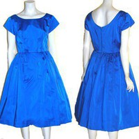 1950s Vintage Satin Rockabilly Full Skirt Dress