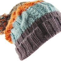 Ignite Chunky Stripe Pom Beanie Knit Hat,Charcoal