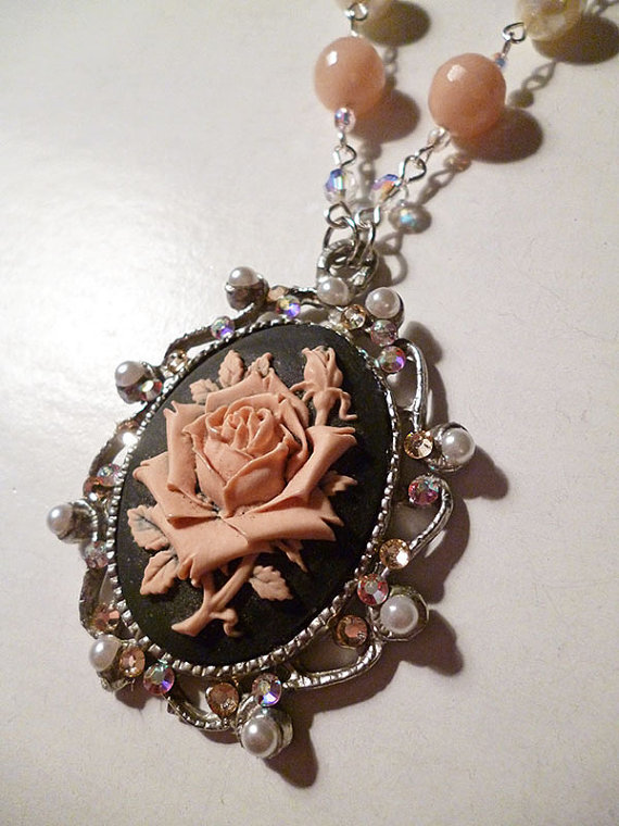 Long Peach Rose Souflee Necklace with Agate Pearls by LaPlumeNoir