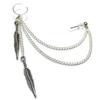 Silver Feather Dangle Chain Ear Cuff Earring Handmade: Jewelry: Amazon.com