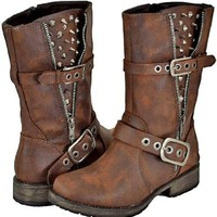 Amazon.com: Breckelles Rocker-17 Brown Women Riding Boots, 8.5: Shoes