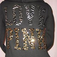 Victoria&#x27;s Secret LOVE PINK Zebra Sequin BLING HOODIE Leopard Sweatshirt NWT M
