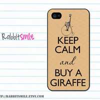 iphone 4 Case, iphone case, iphone 4s Case, iphone 4 Cover, Hard iphone 4 Case -- Keep Calm and Buy a Giraffe