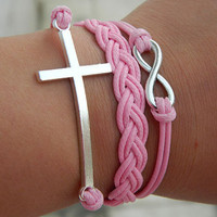 Pink wax rope ancient silver cross, infinite hope Adjustable Bracelet
