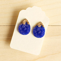 Faux Druzy Earrings Teardrop Dark Blue Post Stud Fake Resin Gold Painted