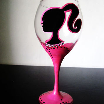 BARBIE Goblet Wine Glass Hand painted pink stem by Jdboutique