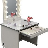 "Amazon.com: Broadway Lighted Vanity Desk 36'' x 30"" - Gloss White: Home & Kitchen"