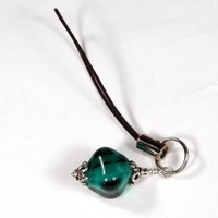 Zipper Pull Purse Or Cell Phone Charm Teal Lampwork Glass Crystal Bead