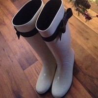 **Authentic Kate Spade Rain Boots With Adorable Bow!!!**