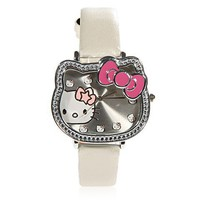 Cute Hello Kitty Hour Marks Leather Quartz Watch - White China Wholesale - Sammydress.com