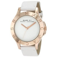Marc Jacobs Blade White Dial White Leather Unisex Watch MBM1201