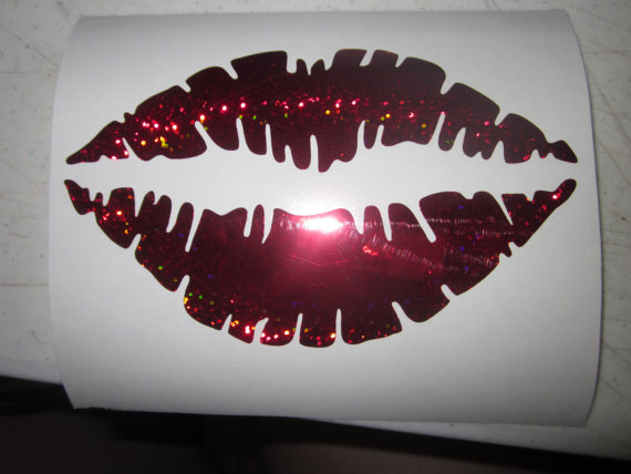 4 x 6 Sparkly Sexy Red Lip Permanent Vinyl by ClassicAddressSigns