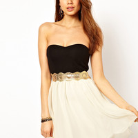 Paprika Bandeau Chiffon Prom Dress