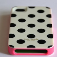 Kate Spade White Large with Black Dots Case for Iphone 4