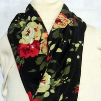 Flowered Black Girls or Ladies Infinity scarf, circle scarf, cowl scarf