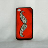 Go &#x27;Stache It Away, iPhone 4/4S case, mustache, red, hipster, indie, one of a kind, men, women, uniquee