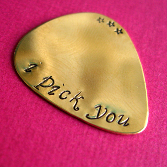 Custom Guitar Pick in Brass custom stamped by SpiffingJewelry