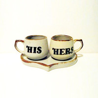 $11.28 Vintage His and Hers Cup Set by MyHauntedAttic on Etsy