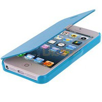 Baby Blue Leather Hard Case Folio Pouch Front Cover for iPhone 5 5G 5th new