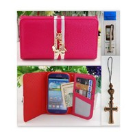 Amazon.com: S3 Shocking Pink Charms Leather Case Card Holder Wallet + Stylus + Charm for Samsung Galaxy S3 I9300 Ship From Hong Kong: Cell Phones & Accessories