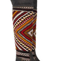 Cobra Society | Hand-woven wool and brushed-leather thigh boots  | NET-A-PORTER.COM