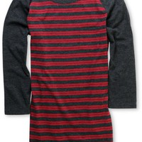 Zine Girls Charcoal Striped Baseball Tee at Zumiez : PDP