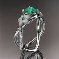 14kt white gold diamond leaf and vine birthstone ring ADLR90 Emera......