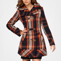 Double Breasted Navy Plaid Coat | Shop Tulle Coats | fredflare.com