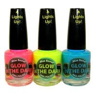 Mia Secret Glow In The Dark Neon Nail Lacquer Nail Polish 3pcs Set Neon Blue,Neon Hot Pink, Neon Ye